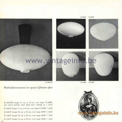 Raak Catalogue 5, 1962 – Raak Ceiling Lamp/Flush Mount B-1068, B-1069, B-1106, B-1108