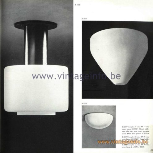 Raak Catalogue 5, 1962 – Raak Ceiling Lamp/Flush Mount B-1007, B-1070, B-1120