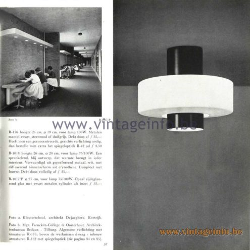 Raak Catalogue 5, 1962 – Raak Ceiling Lamp/Flush Mount B-1018, R-176, B- 1017