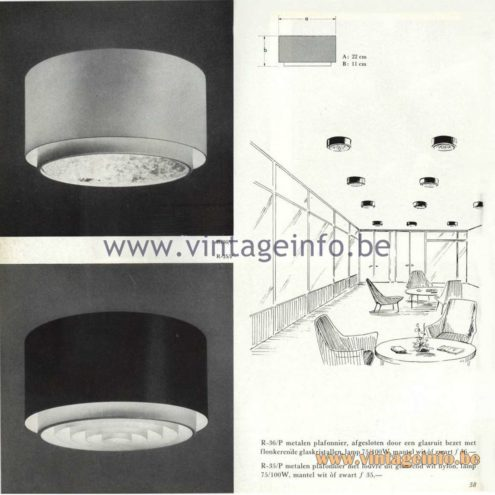 Raak Catalogue 5, 1962 – Raak Ceiling Lamp/Flush Mount R-35, R-36