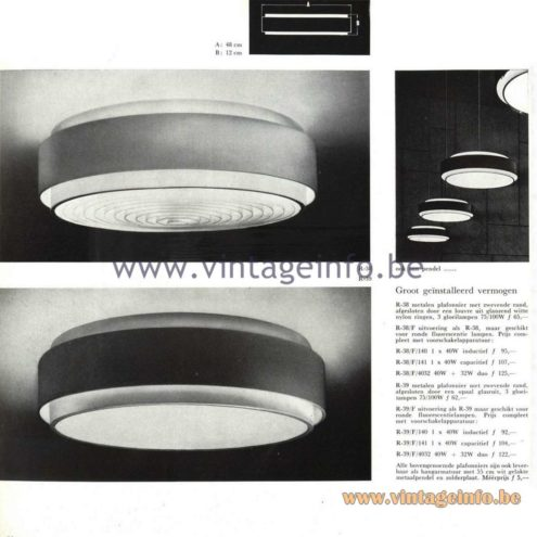 Raak Catalogue 5, 1962 – Raak Ceiling Lamp/Flush Mount R-38, R-39