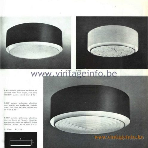 Raak Catalogue 5, 1962 – Raak Ceiling Lamp/Flush Mount R-47, R-48, R-49
