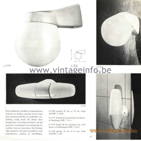 Raak Catalogue 5, 1962 – Raak Bathroom Wall Lamps C-1526, C-1531, C-1532, C-1539