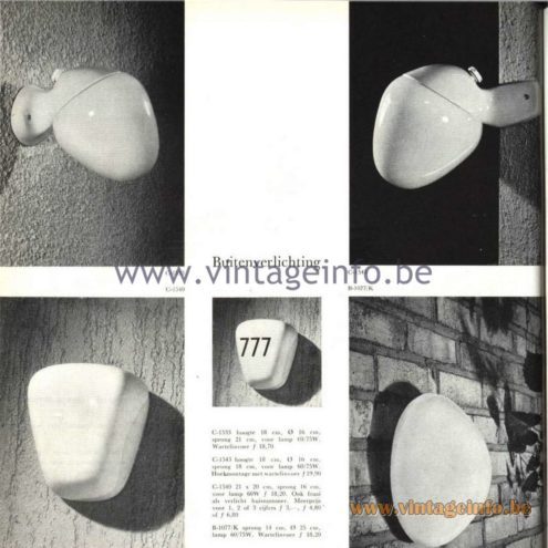 Raak Catalogue 5, 1962 – Raak Outdoor Wall Lamp C-1533, C-1543, C-1540, B-1077