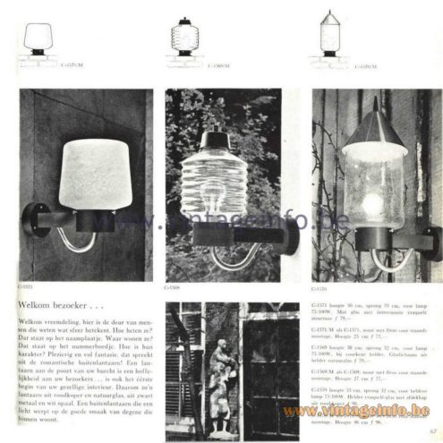 Raak Catalogue 5, 1962 – Raak Outdoor Wall Lamp C-1569, C-1570, C-1571