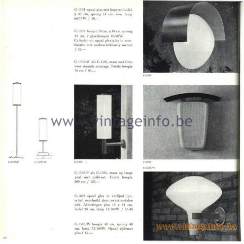 Raak Catalogue 5, 1962 – Raak Outdoor Wall Lamp C-1534, C-1595, C-1585, C-1622
