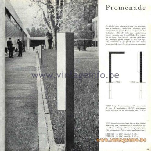 Raak Catalogue 5, 1962 – Raak Garden Lamp Promenade F-3000, F-3001