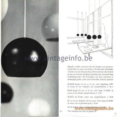Raak Catalogue 5, 1962 - Raak R-202/H, R208, R208/S, R-1, R-1S Pendant Lamp