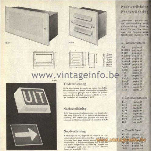 Raak Catalogue 5, 1962 – Raak Exit Lamps R-8, B-1034, B-1154, B-1068, B-1069, B-1106, B-1108, B-1070, B-1120, R-38, R-39, R-47, R-48, R-49, B-1078, R-72, R-47, R-48, R-49, R-33, R-34, R-71, R-70, R-9, C-1600, C-1516, C-1576, C-1521, C-1519, R-56