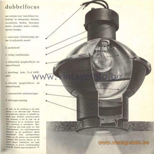 """Raak Catalogue 5, 1962 – Raak Lamp """"Dubbelfocus"""" R-100"""
