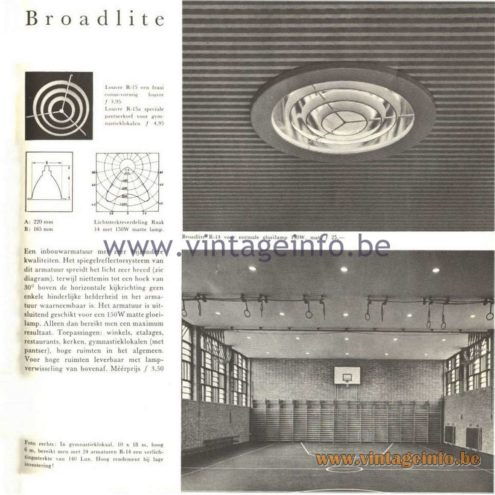Raak Catalogue 5, 1962 – Raak Industrial Ceiling Lamp Broadlite R-14, Louvre R-15