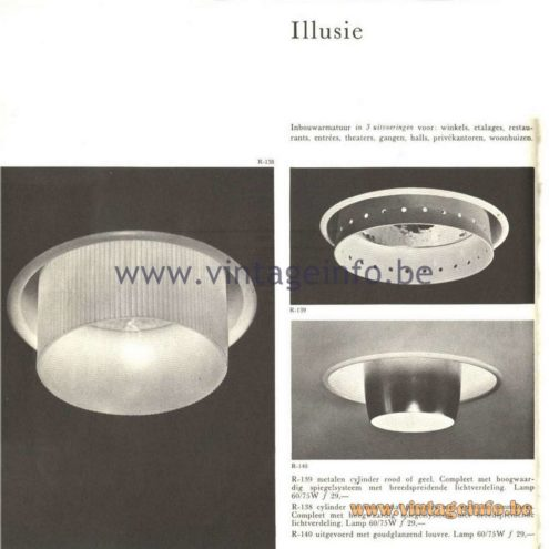 "Raak Catalogue 5, 1962 – Raak Ceiling Lamp/Recessed Luminaire ""Illusie"" R-138, R-139, R-140"