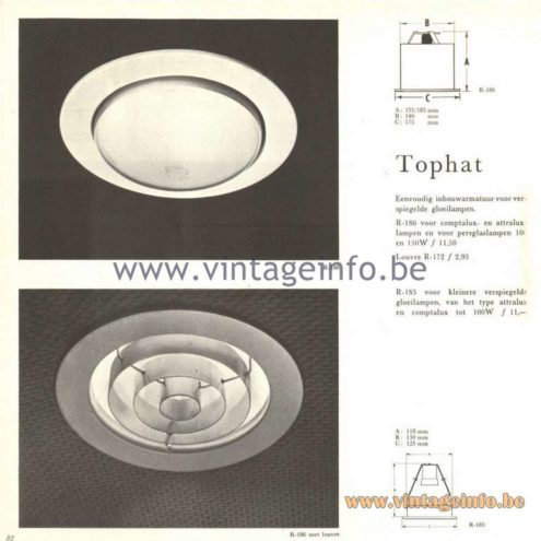 Raak Catalogue 5, 1962 – Raak Ceiling Lamp/Recessed Luminaire Tophat R-185, R-186