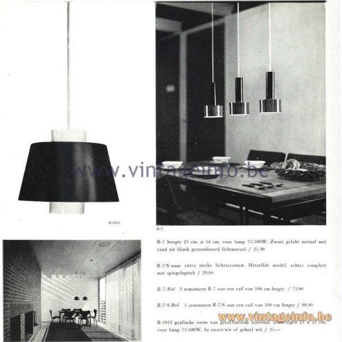 Raak Catalogue 5, 1962 - Raak Pendant Lamps R-7, R-7/S, R-7/Rail, R-7/S Rail, B-1012