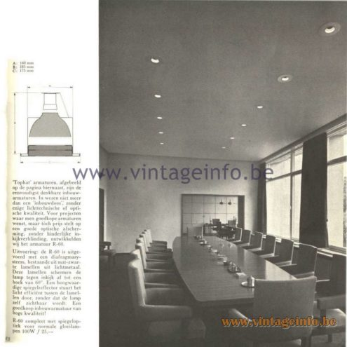 Raak Catalogue 5, 1962 – Raak Ceiling Lamp/Recessed Luminaire Tophat R-50, R-60
