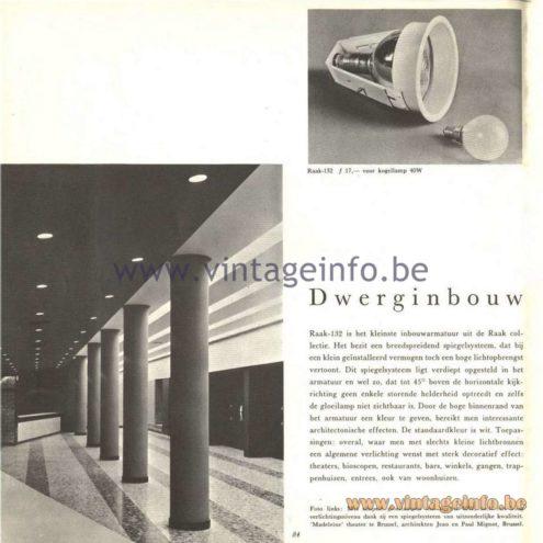 Raak Catalogue 5, 1962 – Raak Ceiling Lamp/Recessed Luminaire - Raak Dwerginbouw Raak-132