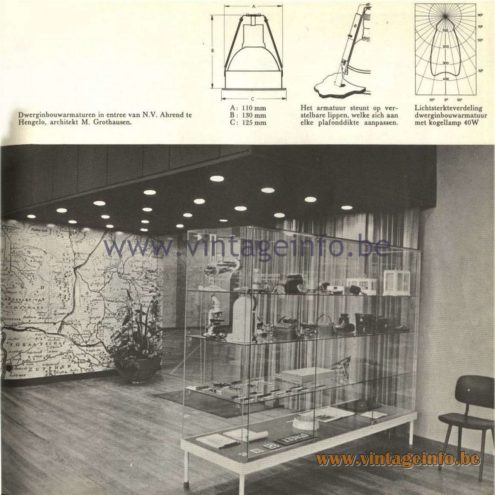 Raak Catalogue 5, 1962 – Raak Ceiling Lamps/Recessed Luminaires at Ahrend, Hengelo, The Netherlands, architekt M. Grothausen Raak Dwerginbouwarmaturen in entree van N.V. Ahrend te Hengelo, architekt M. Grothausen