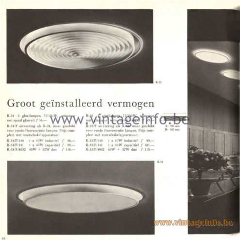Raak Catalogue 5, 1962 – Raak Ceiling Lamp/Recessed Luminaire R-33, R-34