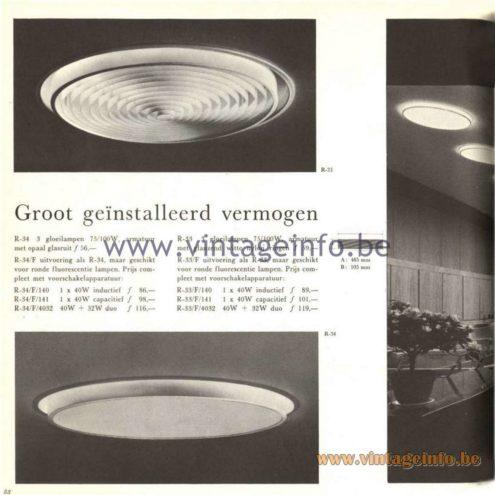Raak Catalogue 5, 1962 – Raak Ceiling Lamp/Recessed Luminaire R-33, R-34