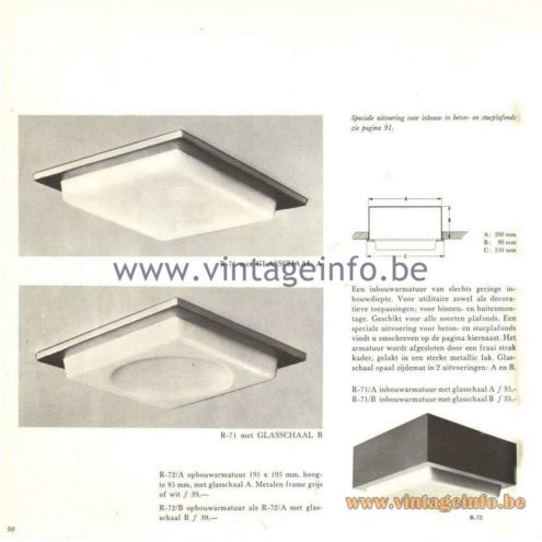 Raak Catalogue 5, 1962 – Raak Ceiling Lamp/Recessed Luminaire R-71, R-72