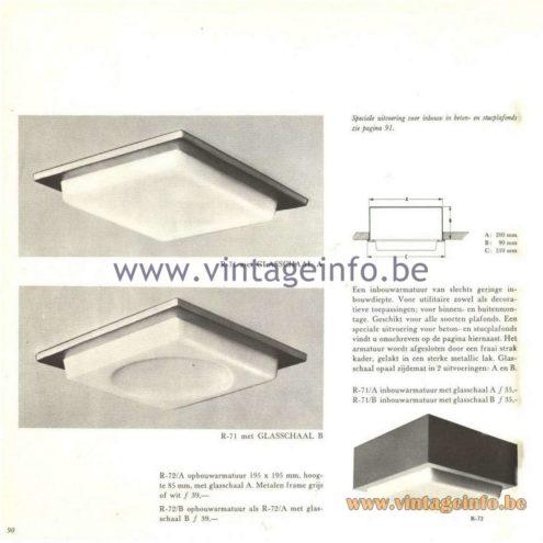 Raak Catalogue 5, 1962 – Raak Ceiling Lamp/Recessed Luminaire R-71, R-72