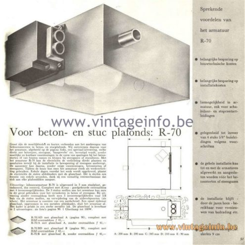 Raak Catalogue 5, 1962 – Raak Ceiling Lamp/Recessed Luminaire R-70