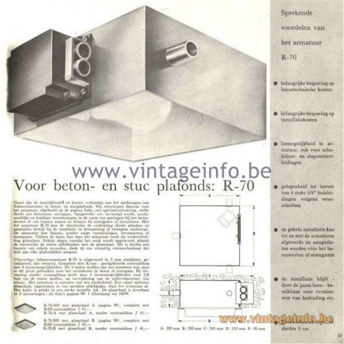 Raak Catalogue 5, 1962 – Raak Ceiling Lamp/Recessed Luminaire R-70