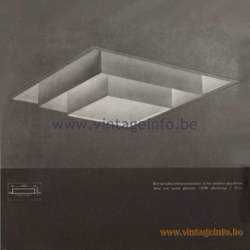 Raak Catalogue 5, 1962 – Raak Ceiling Lamp/Recessed Luminaire R-9