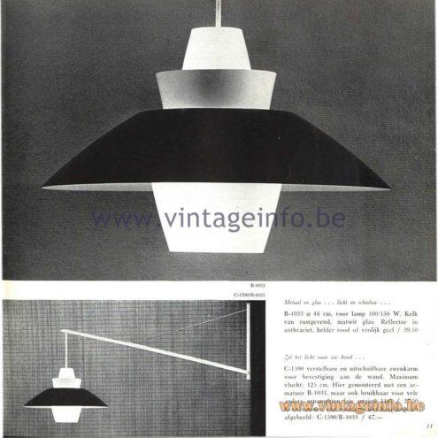 Raak Catalogue 5, 1962 - Raak Pendant Lamp B-1033, C-1590