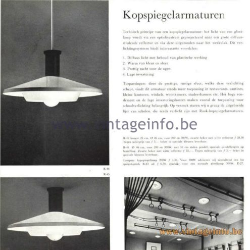 Raak Catalogue 5, 1962 – Raak R-45, R-46 Pendant and Ceiling Lamps