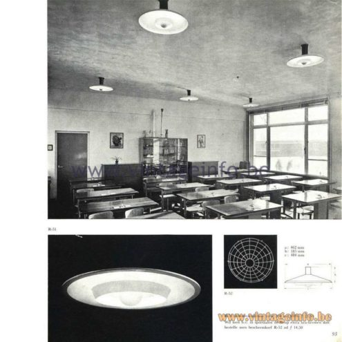Raak Catalogue 5, 1962 – Raak R-51 Ceiling Lamp/Flush Mount