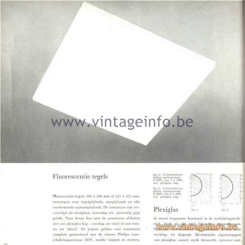 Raak Catalogue 5, 1962 – Raak F-3029 Tile Flush Mount/Ceiling Lamp