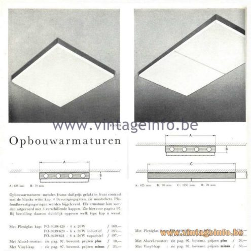 Raak Catalogue 5, 1962 - Raak FO-3039, FO-3040 Flush Mount