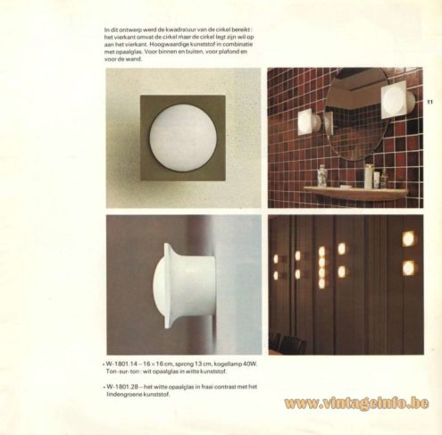 Raak Catalogue 9 - 1972, Raak Wall Light - W-1801.14, W1801.28