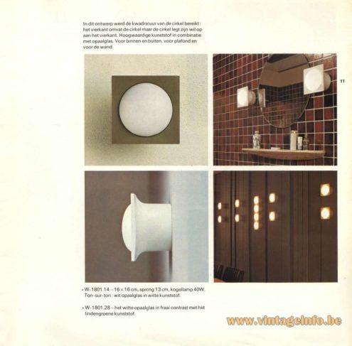 Raak Catalogue 9 - 1972, Raak Wall Light - W-1801.14, W1801.28