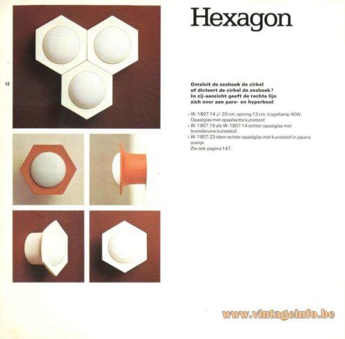 Raak Catalogue 9 - 1972, Raak 'Hexagon' Wall Light - W-1807