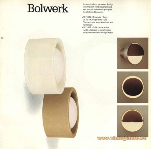 Raak Catalogue 9 - 1972, Raak 'Bolwerk' Wall Light - W-1802