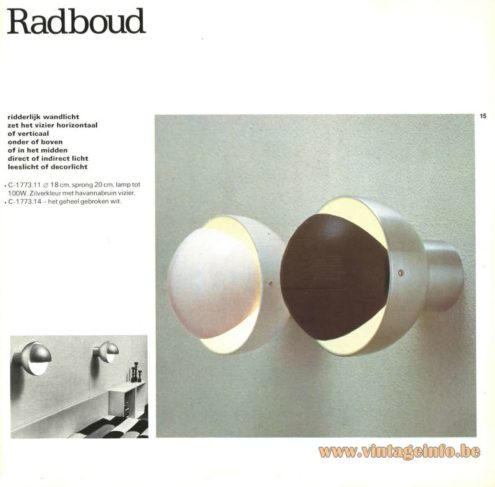 Raak Catalogue 9 - 1972, Raak 'Radboud' Wall Light - C-1773