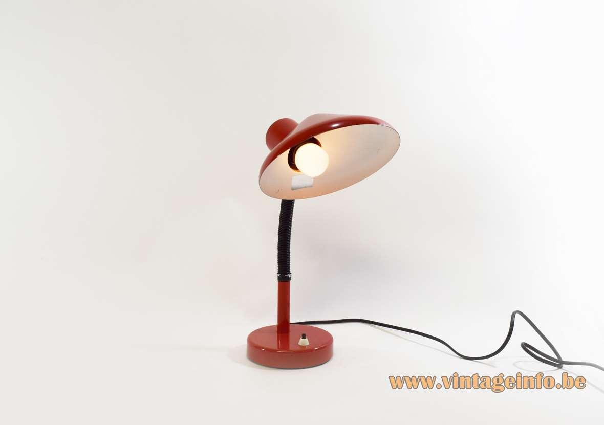 Red 1970s Desk Lamp
