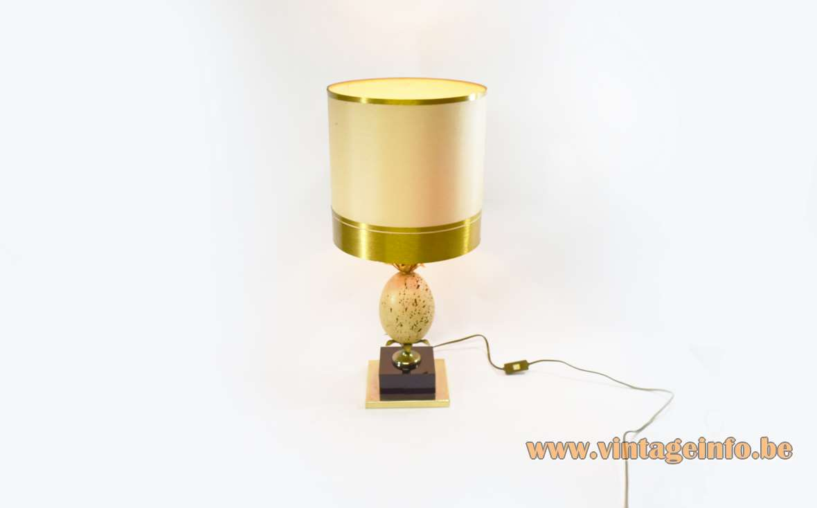 Travertine Ostrich Egg Table Lamp
