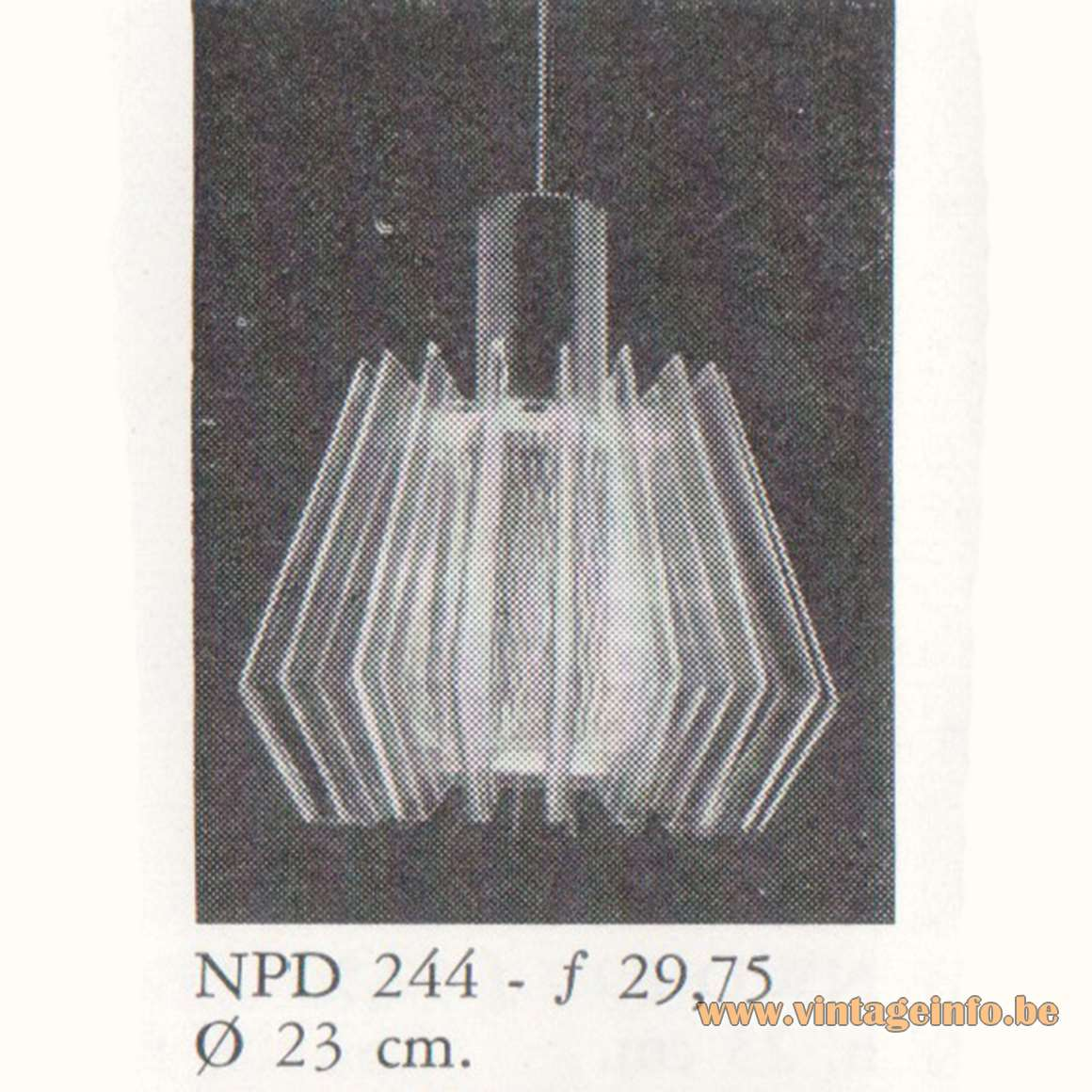 1968 Philips Slats Pendant Lamp NPD 244
