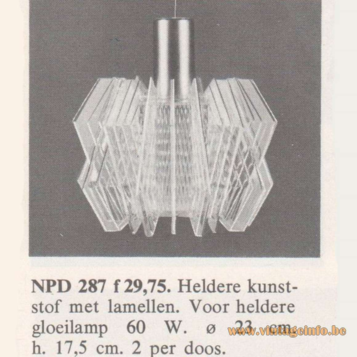 1968 Philips Slats Pendant Lamp NPD 287