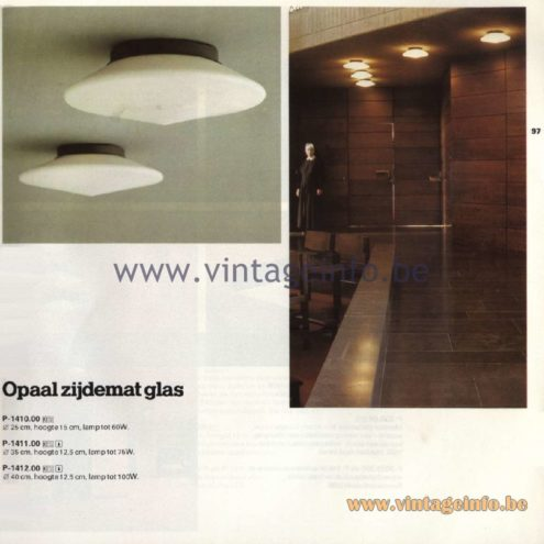 Raak Catalogue 11, 1978 - Raak Discus Ceiling Lamp P-1410.00, P-1411.00, P-1412.00