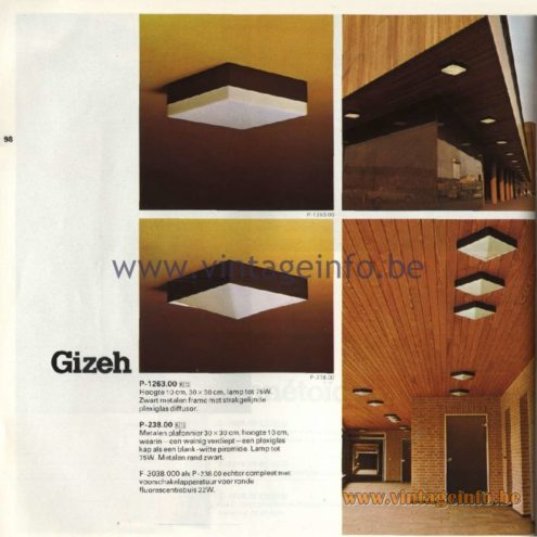 Raak Catalogue 11, 1978 - Raak Gizeh Ceiling Lamp P-1263.00, P-238.00, F-3038.000
