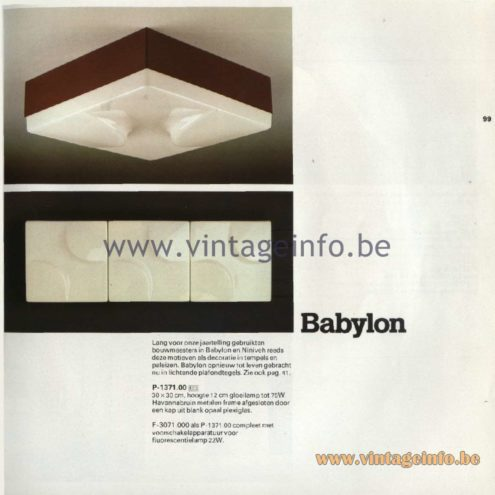 Raak Catalogue 11, 1978 - Raak Babylon Ceiling Lamp P-1371.00, F-3071.000