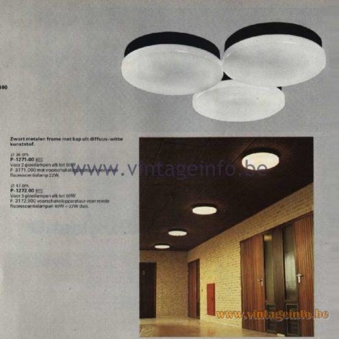 Raak Catalogue 11, 1978 - Raak Ceiling Lamp P-1271.00, P-1272.00