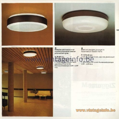 Raak Catalogue 11, 1978 - Raak Ceiling Lamp P-39.00, F-3239.900, P-1374.00