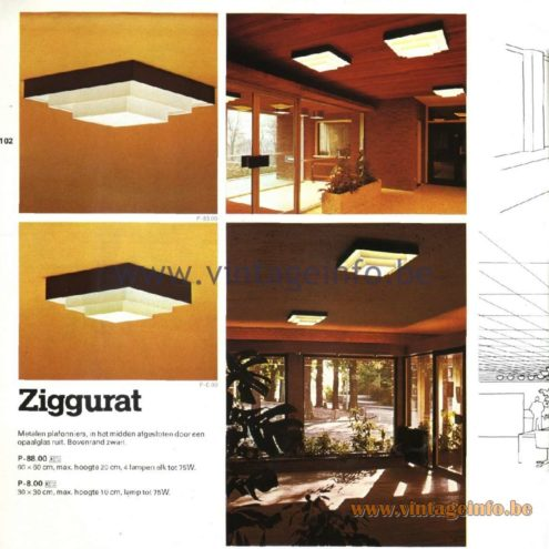 Raak Catalogue 11, 1978 - Raak Ziggurat Ceiling Lamp P-88.00, P-8.00