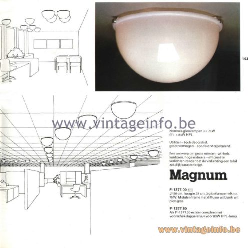 Raak Catalogue 11, 1978 - Raak Magnum Ceiling Lamp P-1377.00, P-1377.80