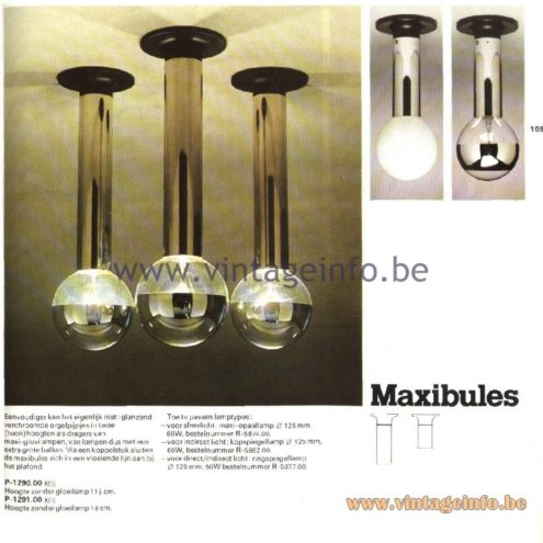 Raak Catalogue 11, 1978 – Raak Ceiling Lamp Maxibules, P-1290.00, P-1291.00